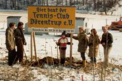 Die Aufstellung des Bauschildes erfolgte durch die Vorstandsmitglieder am 29.2.1981
